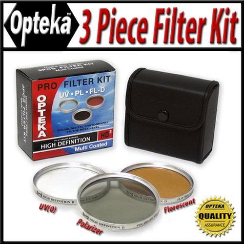 Opteka 34mm Hi-Def Professional Filter Kit UV, PL, FLD Silver