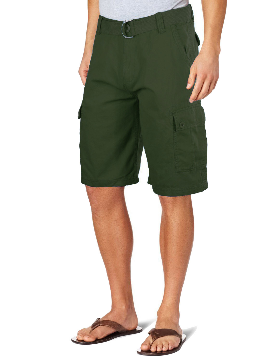 Men's Casual Twill Cargo Shorts with Belt