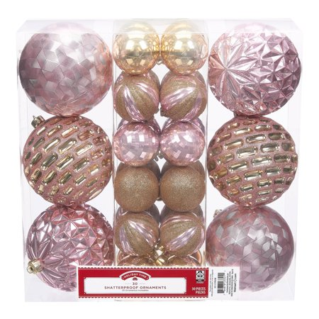 Holiday Time Shatterproof Ornaments, 30-Count, Pink Gold Holiday Pierced Ornament