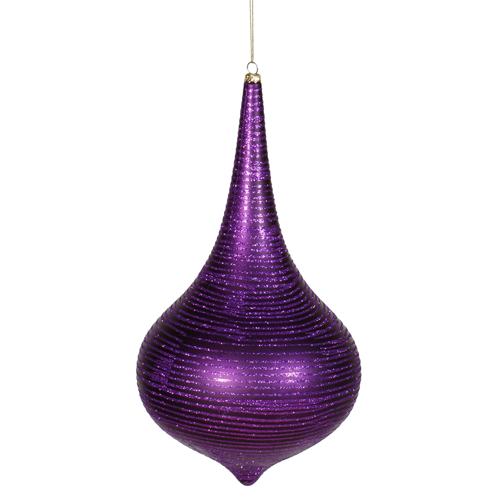 Purple Matte with Glitter Stripes Christmas Onion Drop Ornament 16""