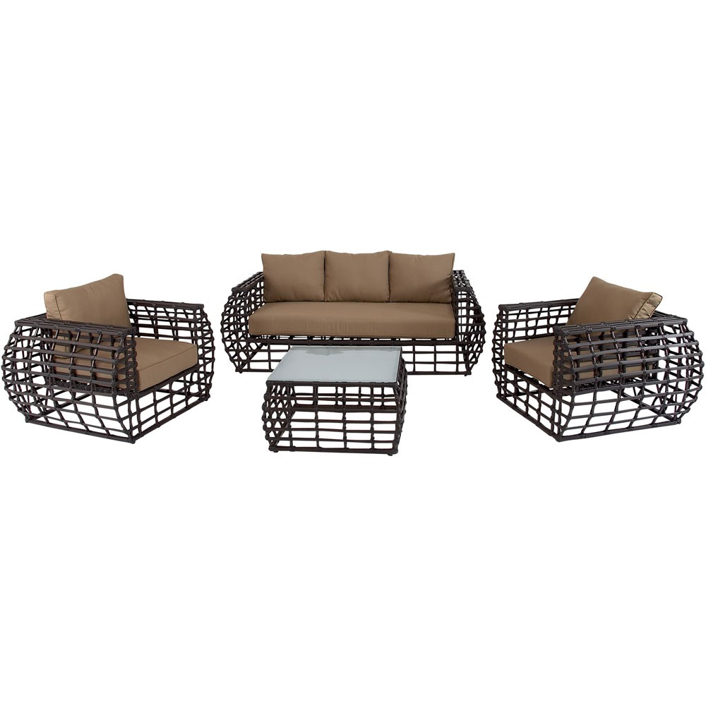 Hanover Soho 4 Piece Aluminum Patio Conversation Set