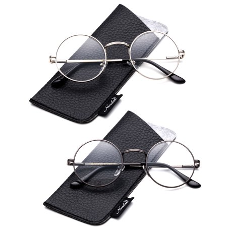 cf70df8254 Quality Unisex Retro Round Reading Glasses Spring Hinge Stainless Steel  Frame Metal Round Reading Glasses - Walmart.com