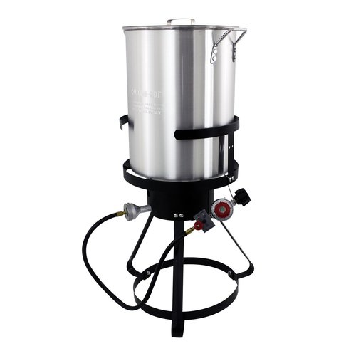 30 QT ALUMINUM TURKEY FRYER PKG 21IN TRIPOD 50 000 BTU CAST IRON