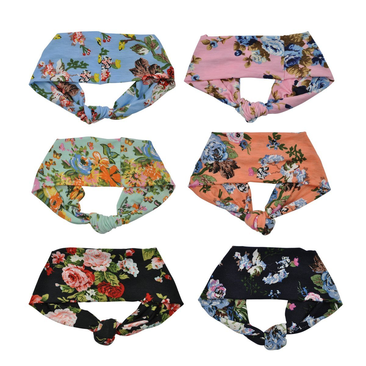 Lady Up Vintage Flower Headwraps Hairbands Bows Women Headbands for Fashion or Sport,6-Pack