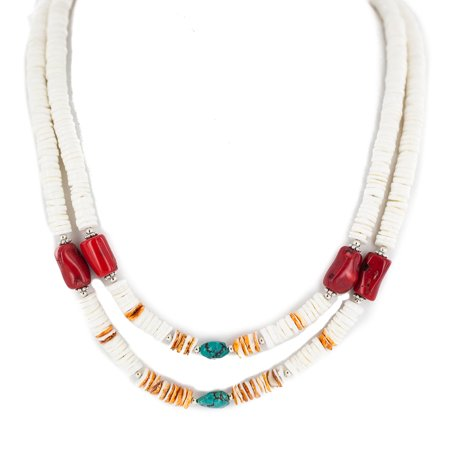 2 Strand .925 Sterling Silver Navajo Certified Authentic Natural Turquoise Graduated Heishi Coral Native American Necklace