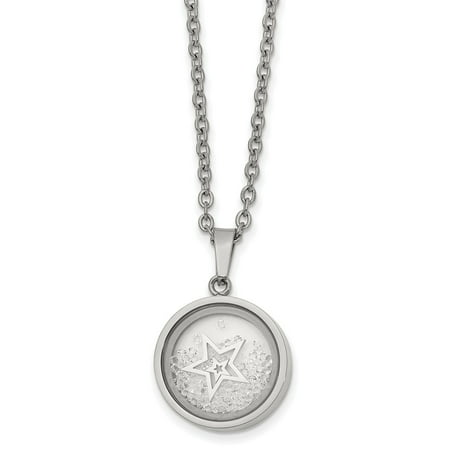 Stainless Steel Crystal Black Rim Floating Star 2in Extension 16in Pendant Necklace Charm Chain - with Secure Lobster Lock Clasp 16 -  AA Jewels