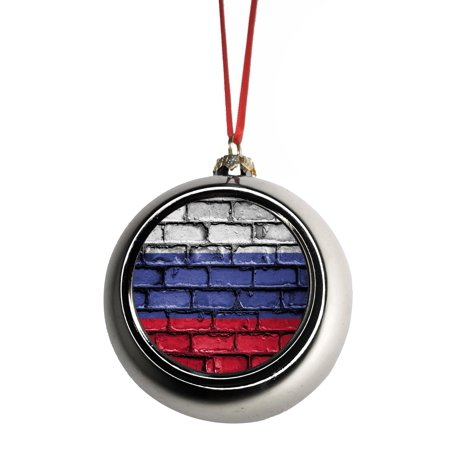Flag Russia Russian Brick Wall Style Print Bauble Christmas Ornaments Silver Bauble Tree Xmas Balls
