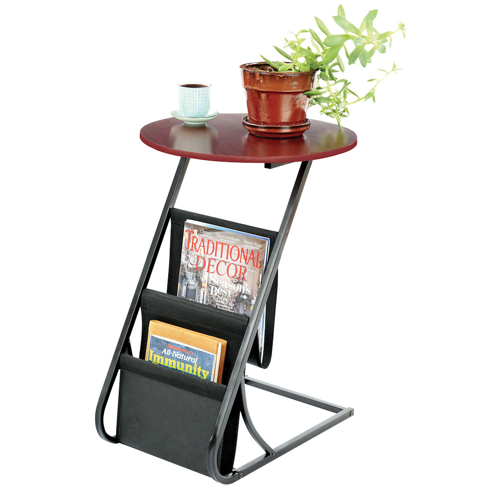 "Accent Table Living Room Office End Table with Magazine Rack 20.5"" Tall, Round by"