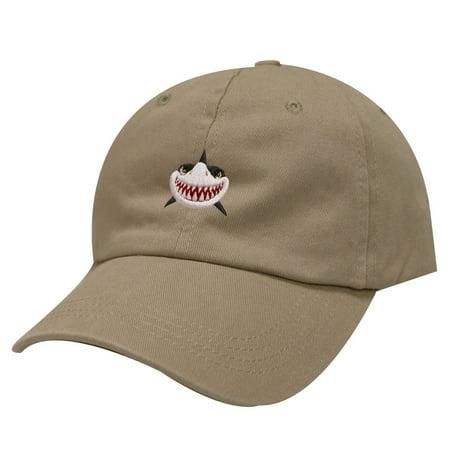 City Hunter C104 Shark Face Cotton Baseball Dad Caps 19 Colors (Khaki)