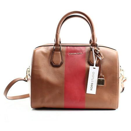 20c5f413a7 Michael Kors - michael kors new brown leather center stripe mercer duffle  satchel bag - Walmart.com