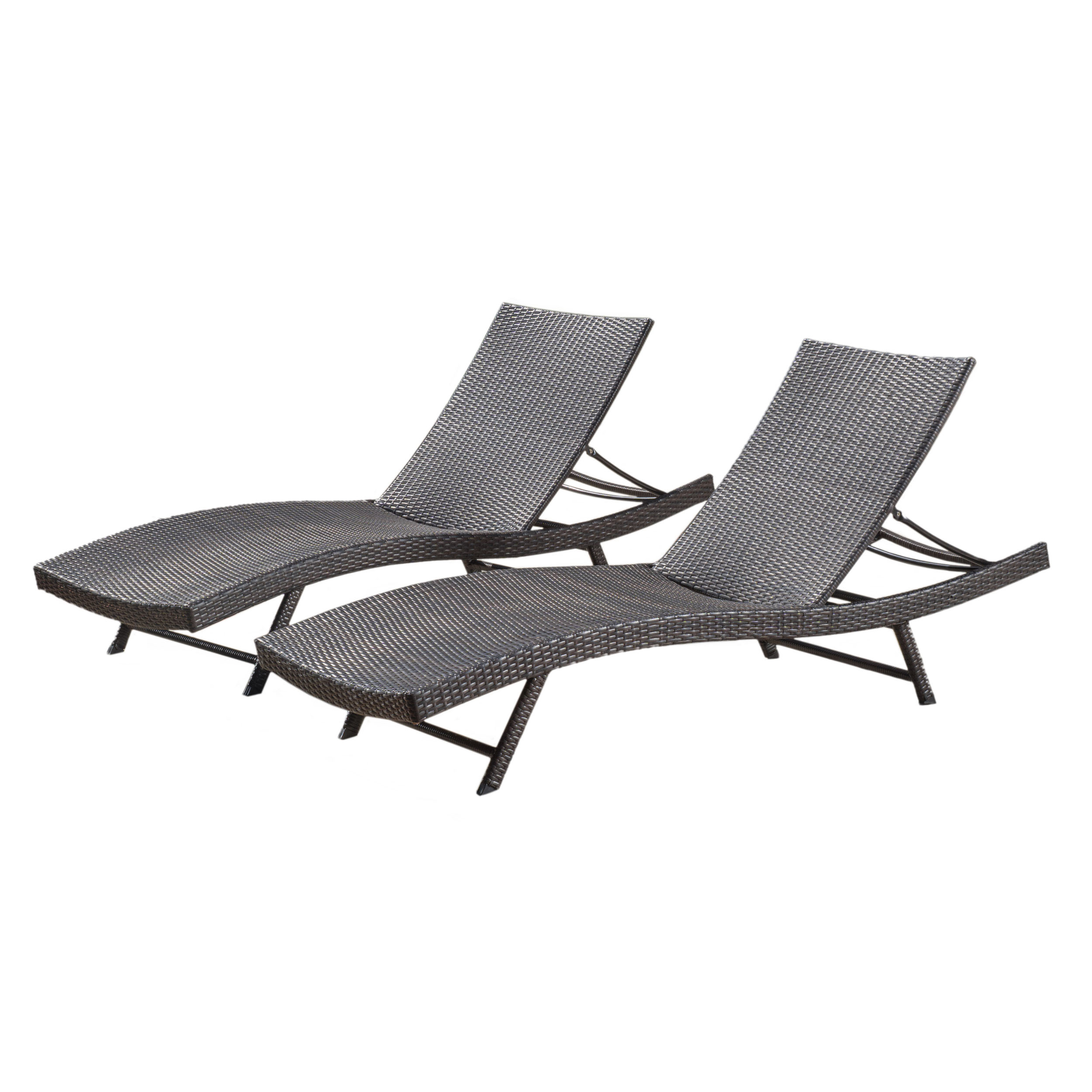 Noble house brown chaise lounge set of 2 by noble house for Brown chaise longue