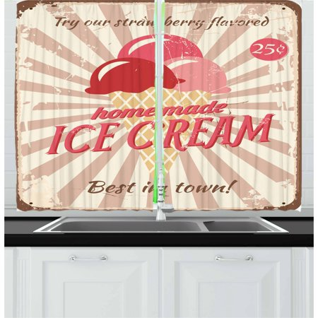 Ice Cream Curtains 2 Panels Set, Vintage Style Sign with Homemade Ice Cream Best in Town Quote Print, Window Drapes for Living Room Bedroom, 55W X 39L Inches, Red Coral Cream Tan, by