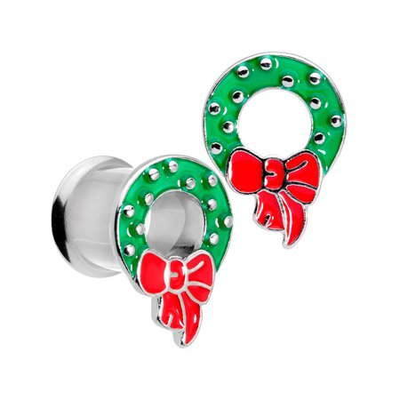 Body Candy 2Pc 316L Steel Double Flare Tunnel Plug Christmas Wreath Ear Plug Gauges Set of 2 00 Gauge