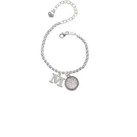 Silvertone Large Initial - M - You are my Sun, My Moon, and All of My Stars Engraved Bracelet (Cheap Engraved Bracelets)