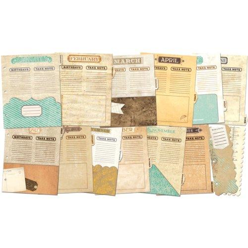 Misc Me Binder Dividers-Vintage Calendar Multi-Colored