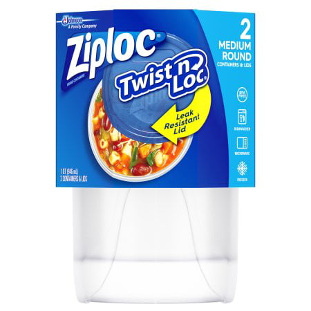 (3 Pack) Ziploc Twist'n Loc Round Container Medium 4 Cup, 2 count Small Round Twist