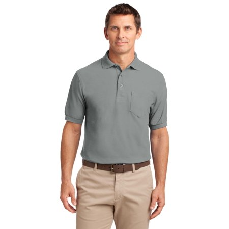 Port Authority® Tall Silk Touch™ Polo With Pocket. Tlk500p Cool Grey Xlt - image 1 of 1