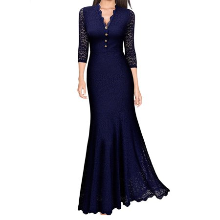 Women Lace V Neck Fishtail Prom Long Maxi Dress Retro Evening Party Formal Ball Gown Wedding Bridesmaid Vintage
