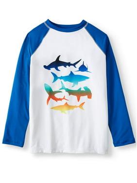 Wonder Nation Boys 4-18 & Husky UPF 50+ Long Sleeve Rash Guard Swim Shirt