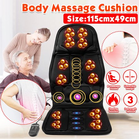 8 Mode 3 Intensit y Car/Home Chair Seat Cushion Full Body Electric Therapy Vibration Shiatsu Kneading Rolling Vibration Massager Mat Pad with Heat Full Back & Neck Leg Hips