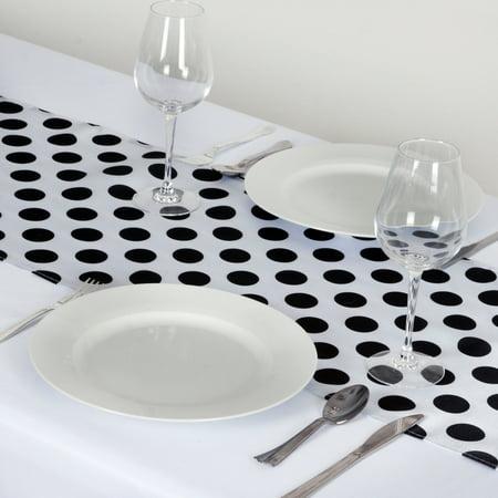 Balsacircle 14 X 108 Satin Polka Dot Table Runner Black And White
