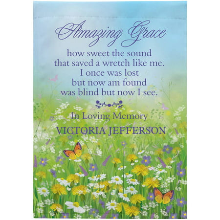 Personalized Amazing Grace Memorial Garden Flag, Available with or without Stake - Personalized Garden Flags