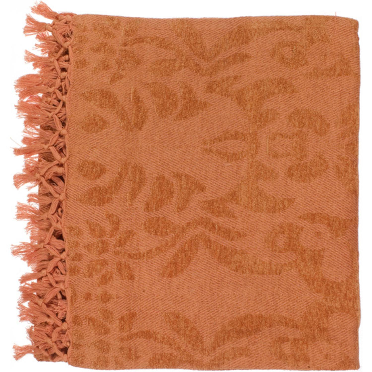 "50"" x 70"" Floral Scroll Orange Spice Viscose Throw Blanket"