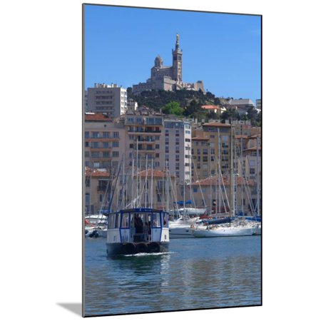 Boats at Old Port, Marseille, Bouches-Du-Rhone, Provence-Alpes-Cote D'Azur, France Wood Mounted Print Wall Art (Old Port Wood)