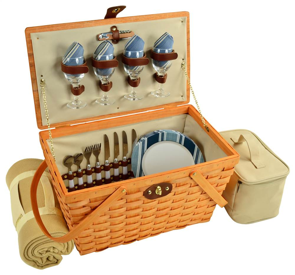 11 in. Settler Picnic Basket Set with Blanket