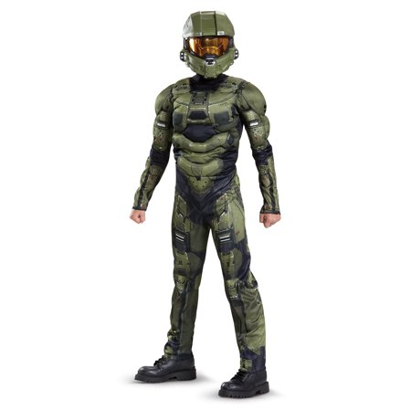 Halo Boys' Master Chief Classic Muscle Costume (Master Chief Gloves)