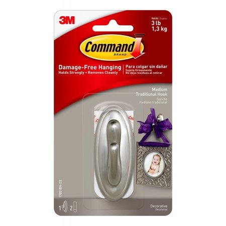 Command Traditional Hook, Brushed Nickel, Medium, 1 Hook, 2 Strips/Pack