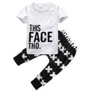 Toddler Kids Boy Outfits Clothes Short Sleeve T-shirt Tops+Pants 2PCS Set 0-5T