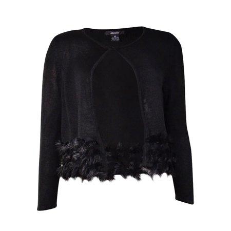 - Alfani Women's Cropped Faux Fur Trim Cardigan Sweater