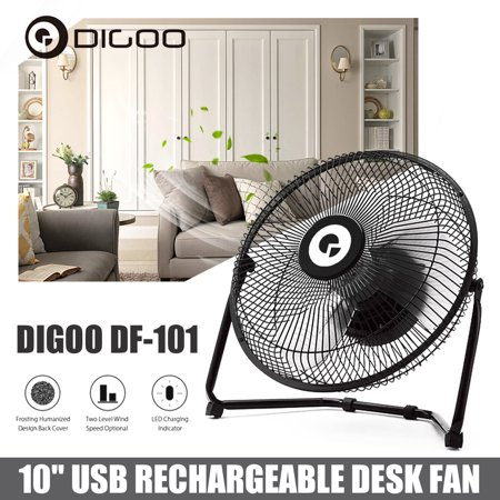 Digoo DF-101 Portable Mini 10 Inch USB Rechargeable Cooling Table Desk Desktop Fan Cooler with 2x 18650 Batteries,Metal 360° Rotatable For Home Office PC Laptop