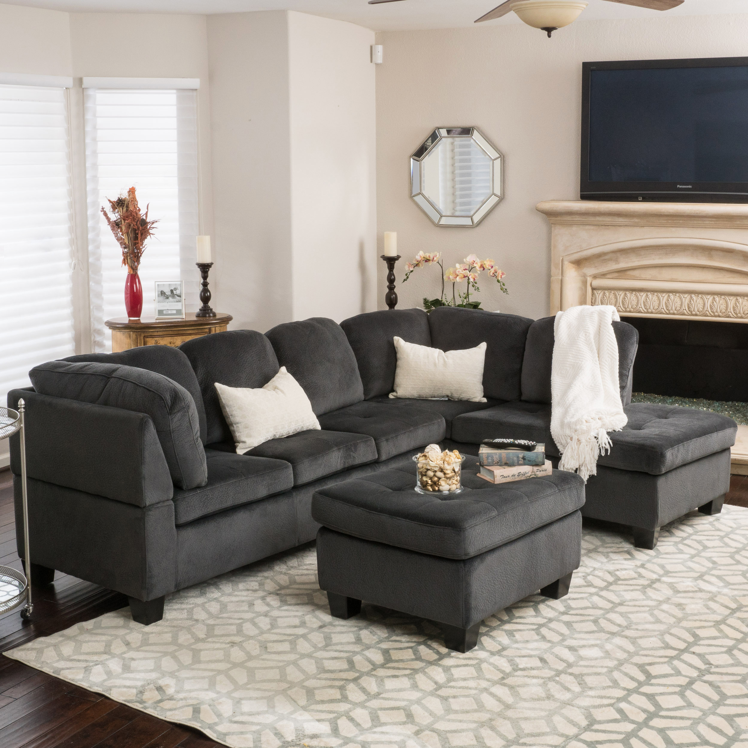 Noble House Victoria 3 Piece Charcoal Fabric Sectional Sofa Set