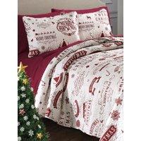 Red Merry Christmas, Holidays, Reindeer Full / Queen Quilt & Shams Set (3 Piece Bedding)