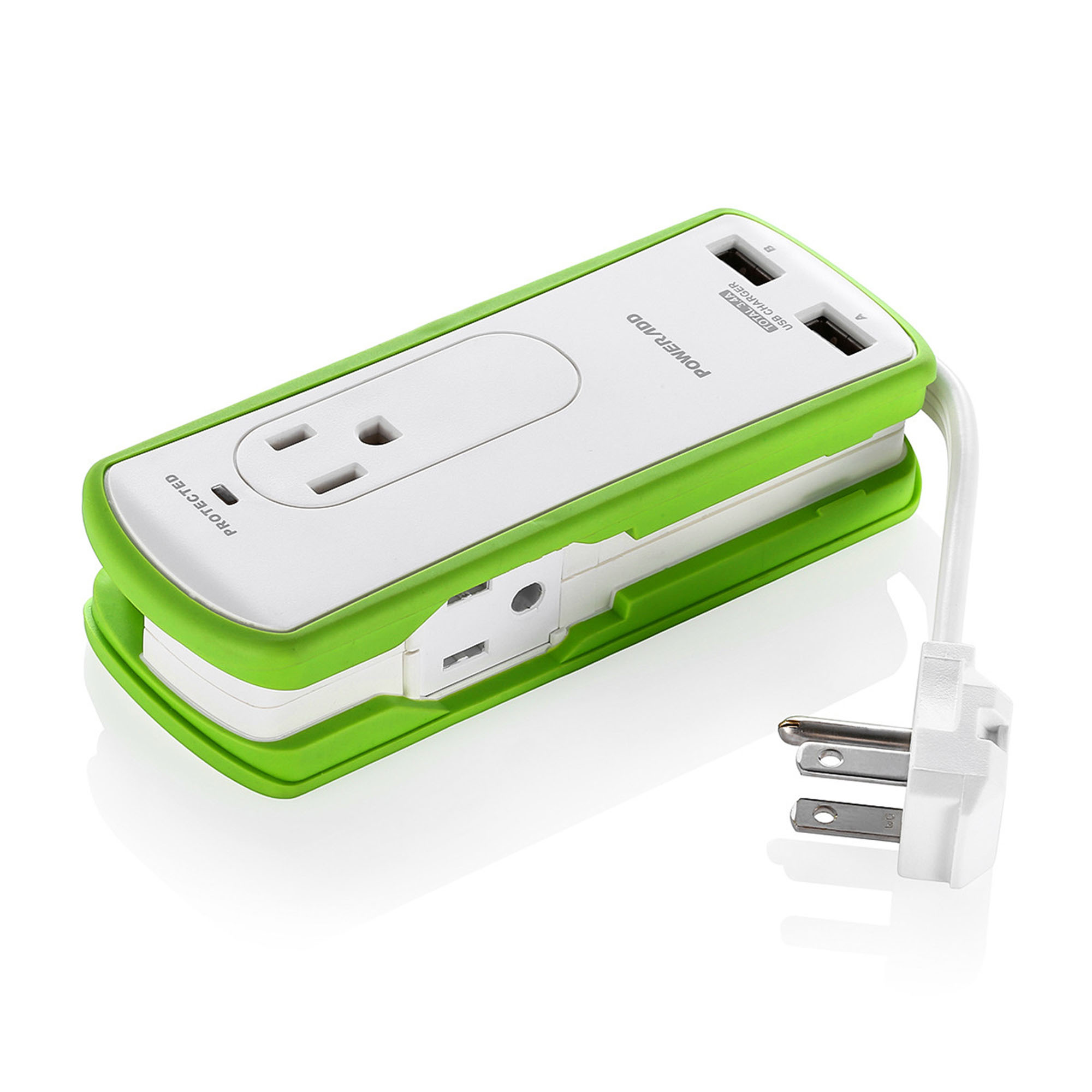 Poweradd 2-Outlet Travel Surge Protector Portable Travel Charger Dual USB Ports Power Strip