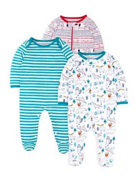 Little Star Organic Newborn Holiday Sleep 'N Play Pajamas, 3pk (Baby Boys)