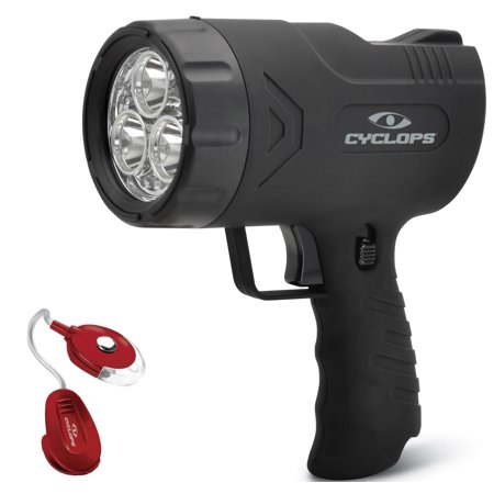 Spotlight For Hunting 500 Lumen Handheld Cree LED Sirius AC DC Charger Cyclops + Bonus Red Clip Light