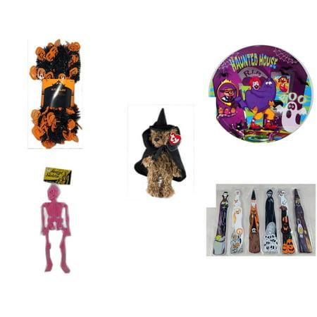 Halloween Fun Gift Bundle [5 Piece] -  Black & Orange Pumpkin Garland 10 ft. - McDonald's Haunted House, RIP, Boo  Plate - Ty Attic Treasures