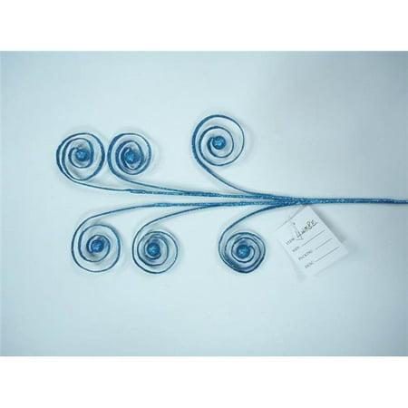 22 in. Aqua Flat Ribbon Pick with Aqua Glitter - Pack of 3