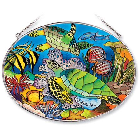 Amia Studios Tropical Fish and Turtles Large Oval Suncatcher #7741