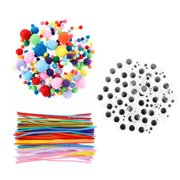 KABOER Pipe Cleaners Crafts Set, Wartoon Pipe Cleaners Chenille Stem and Pompoms with Wiggle Eyes for Craft DIY Art Supplies, 500 Pieces