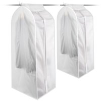 Juslike Large PEVA Translucent Clothing Dustproof Cover Wardrobe Hanging Storage Bag Garment Rack Cover Dustproof Protector with Magic Tape and Zipper (1 Pack)