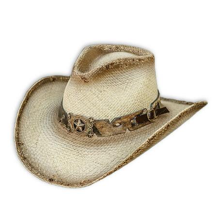 - Stampede Genuine Panama Straw General Western Pinch Front Cowboy Hat, Tea Stain