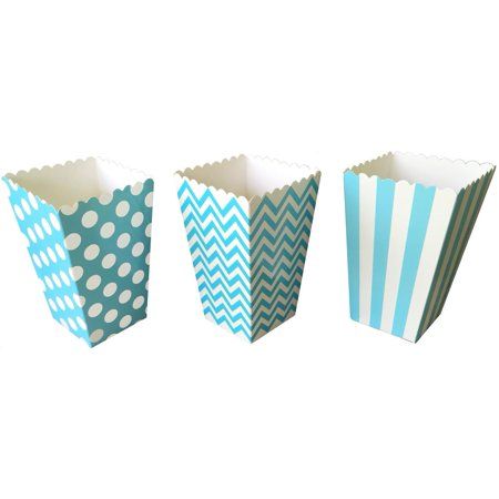 Blue Stripe, Chevron and Polka Dot Popcorn Treat Boxes  36 Pack
