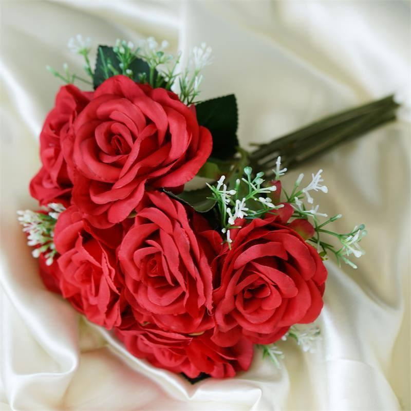 Efavormart 4 Realistic Looking Fabric Flower Bouquet for DIY Wedding Bouquets Centerpieces Arrangements Baby Shower Home Decoration