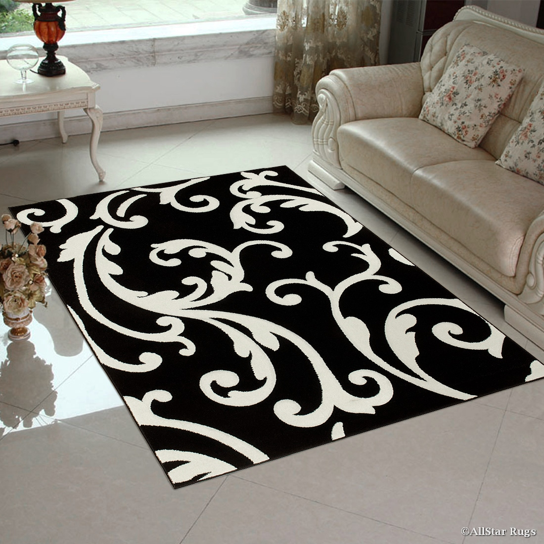 Click here to buy Black Allstar with White Floral Design Modern Geometric Area Rug (5