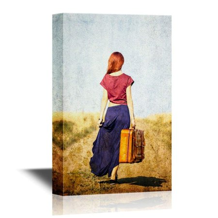 Suitcase Decor (wall26 Canvas Wall Art - Redhead Girl with Suitcase at Countryside Road - Gallery Wrap Modern Home Decor | Ready to Hang - 16x24)