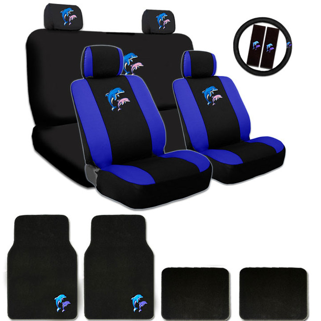 New Ultimate Dolphin Logo Headrest Covers Seat Covers Steering Wheel Cover And Floor Mats Gift Set - Shipping Included